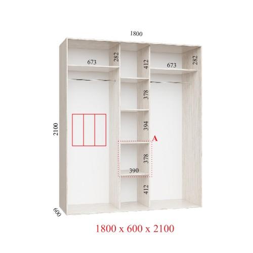 Шкаф-купе 180х60х210 КОМФОРТ - 3 фасады