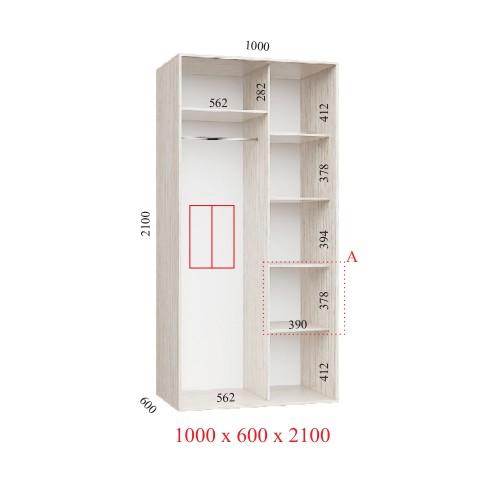 Шкаф-купе 100х60х210 СТАНДАРТ - 2 фасада