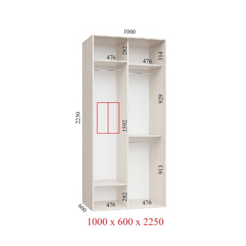 Шкаф-купе 100х60х225 УЛЬТРА - 2 фасада